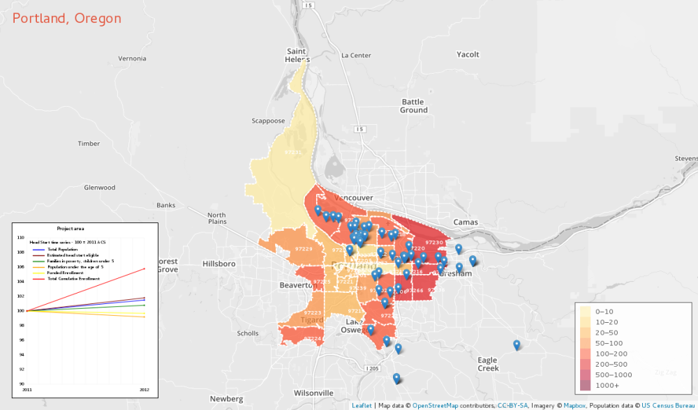 Portland, OR 2012 Estimated Head Start eligible by Zip Code